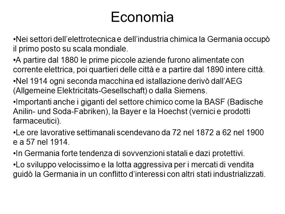 Economia Nei settori dell'elettrotecnica e dell'industria chimica la Germania occupò il primo posto su scala mondiale. A partire dal 1880 le prime pic