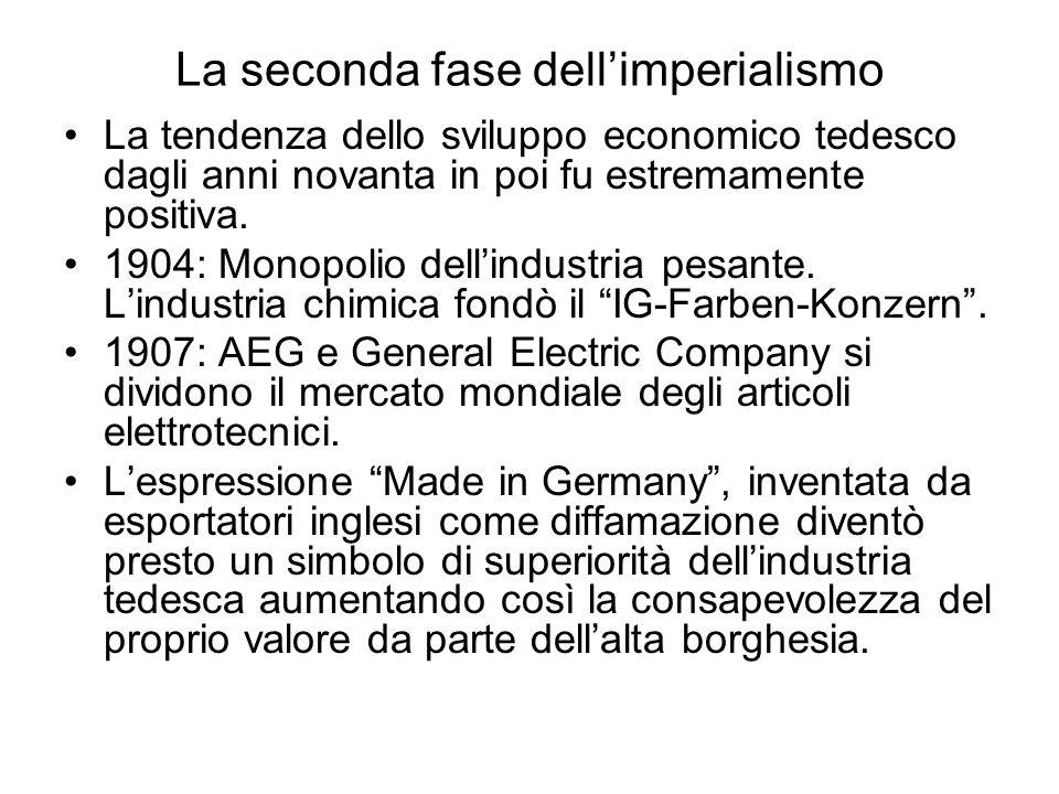 La seconda fase dell'imperialismo La tendenza dello sviluppo economico tedesco dagli anni novanta in poi fu estremamente positiva. 1904: Monopolio del