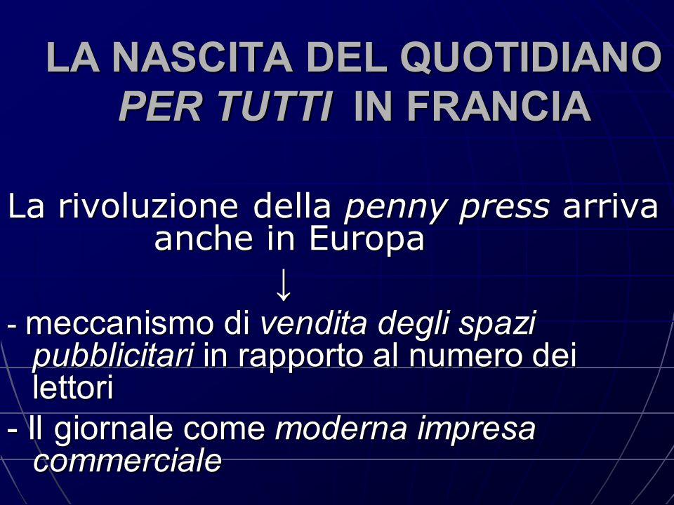 LA NASCITA DEL QUOTIDIANO PER TUTTI IN FRANCIA La rivoluzione della penny press arriva anche in Europa ↓ - meccanismo di vendita degli spazi pubblicit