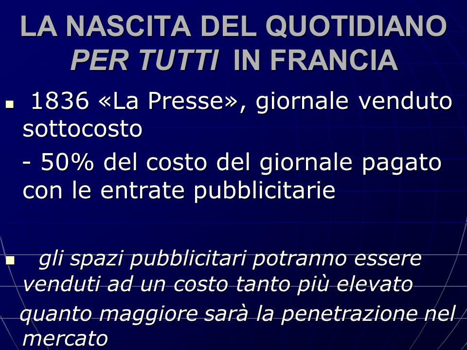 LA NASCITA DEL QUOTIDIANO PER TUTTI IN FRANCIA 1836 «La Presse», giornale venduto sottocosto 1836 «La Presse», giornale venduto sottocosto - 50% del c