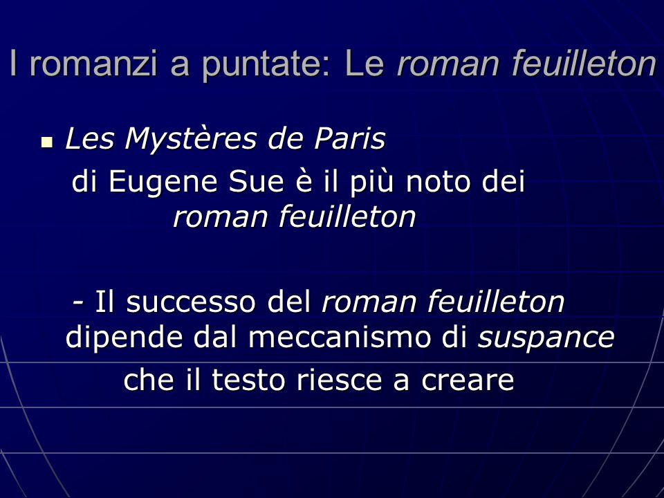 I romanzi a puntate: Le roman feuilleton Les Mystères de Paris Les Mystères de Paris di Eugene Sue è il più noto dei roman feuilleton di Eugene Sue è