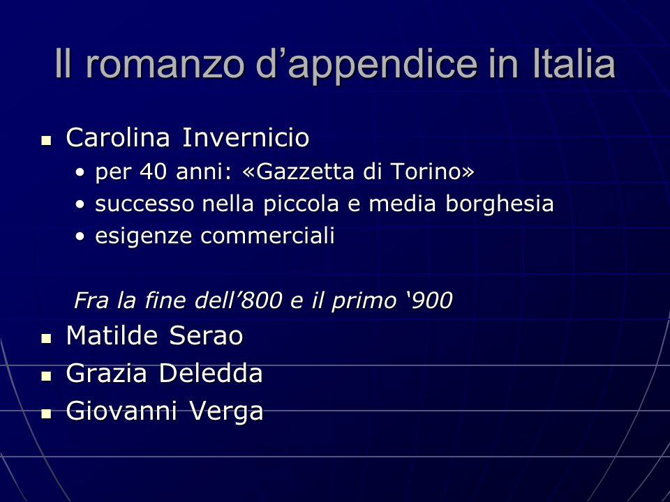 Il romanzo d'appendice in Italia Carolina Invernicio Carolina Invernicio per 40 anni: «Gazzetta di Torino»per 40 anni: «Gazzetta di Torino» successo n
