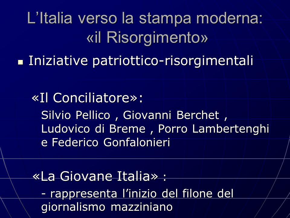 L'Italia verso la stampa moderna: «il Risorgimento» Iniziative patriottico-risorgimentali Iniziative patriottico-risorgimentali «Il Conciliatore»: «Il