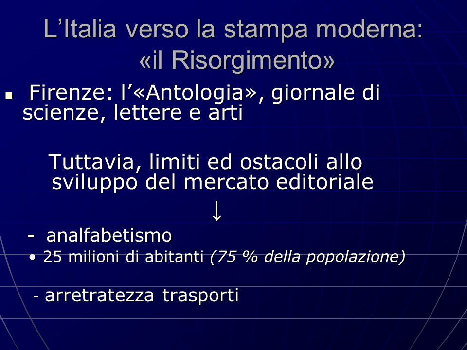 L'Italia verso la stampa moderna: «il Risorgimento» Firenze: l'«Antologia», giornale di scienze, lettere e arti Firenze: l'«Antologia», giornale di sc
