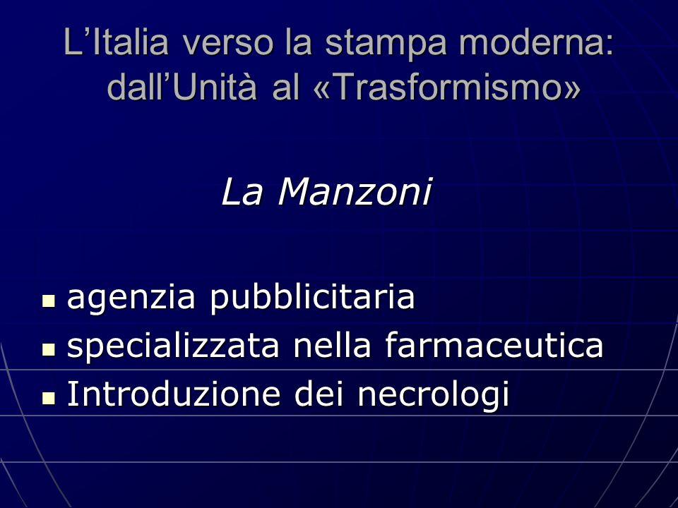 L'Italia verso la stampa moderna: dall'Unità al «Trasformismo» La Manzoni La Manzoni agenzia pubblicitaria agenzia pubblicitaria specializzata nella f