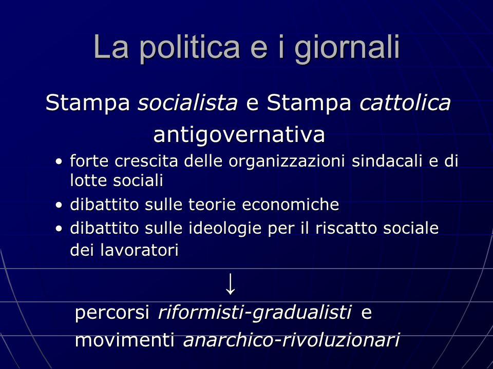 La politica e i giornali Stampa socialista e Stampa cattolica Stampa socialista e Stampa cattolica antigovernativa antigovernativa forte crescita dell