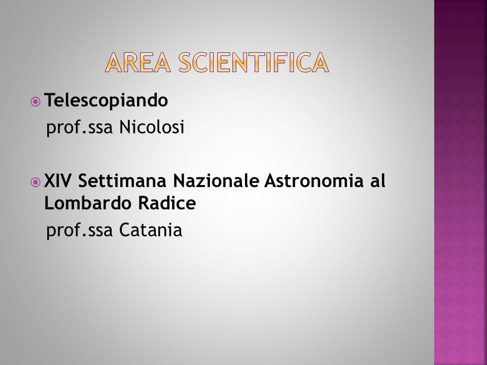  Telescopiando prof.ssa Nicolosi  XIV Settimana Nazionale Astronomia al Lombardo Radice prof.ssa Catania