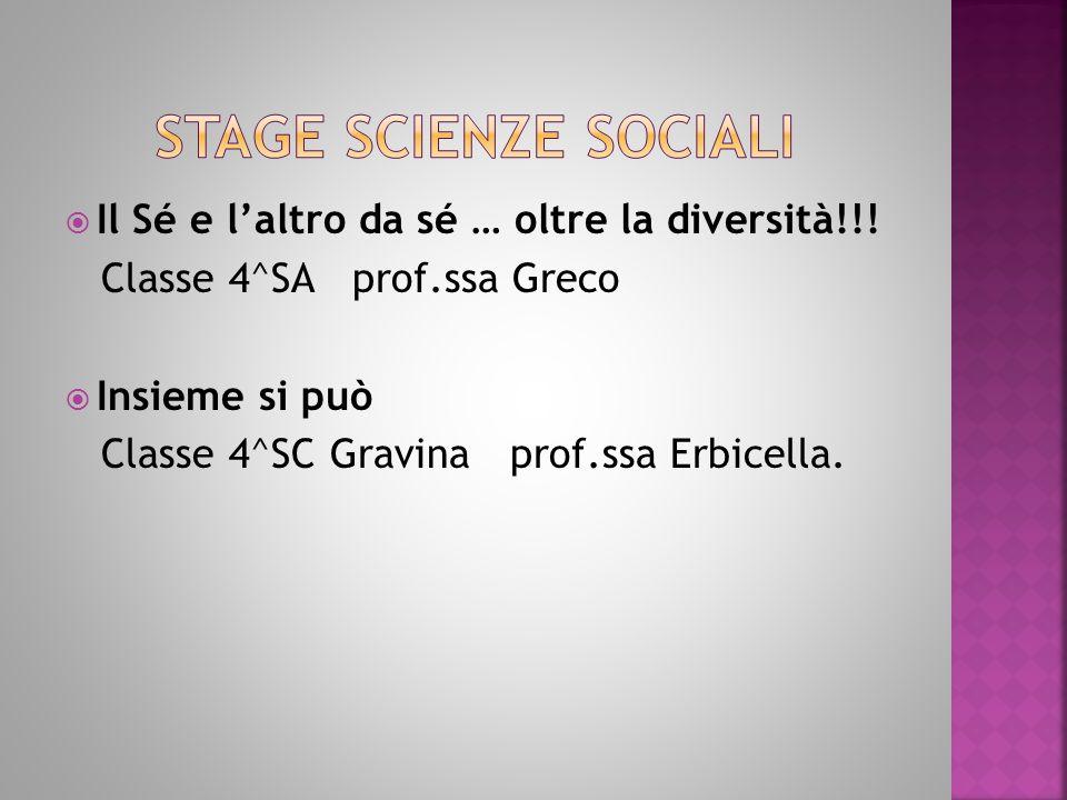  Il Sé e l'altro da sé … oltre la diversità!!! Classe 4^SA prof.ssa Greco  Insieme si può Classe 4^SC Gravina prof.ssa Erbicella.