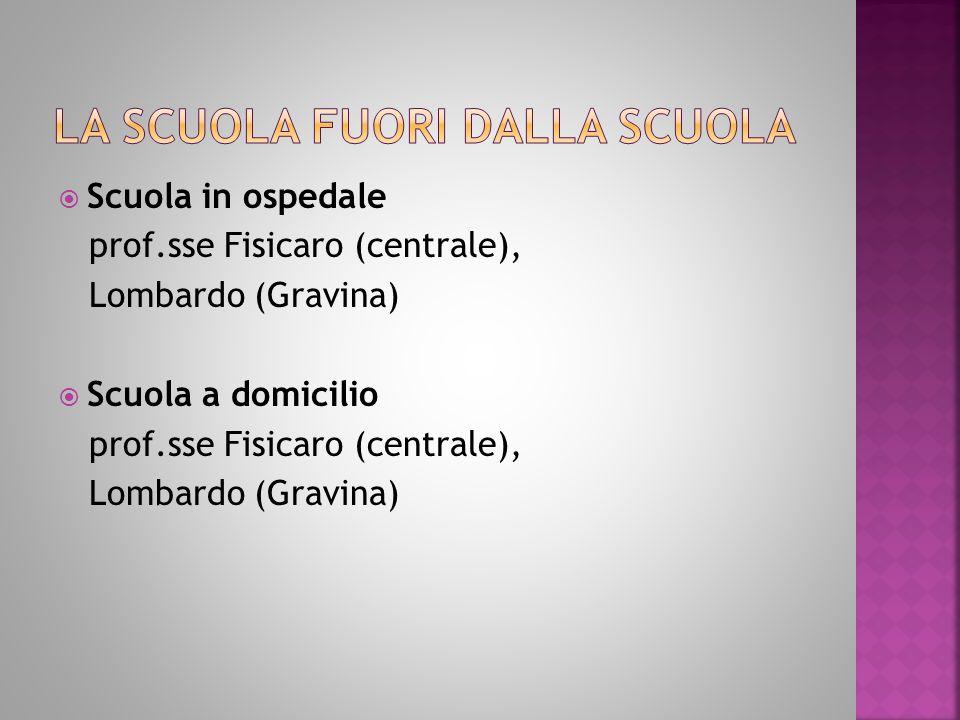  Scuola in ospedale prof.sse Fisicaro (centrale), Lombardo (Gravina)  Scuola a domicilio prof.sse Fisicaro (centrale), Lombardo (Gravina)