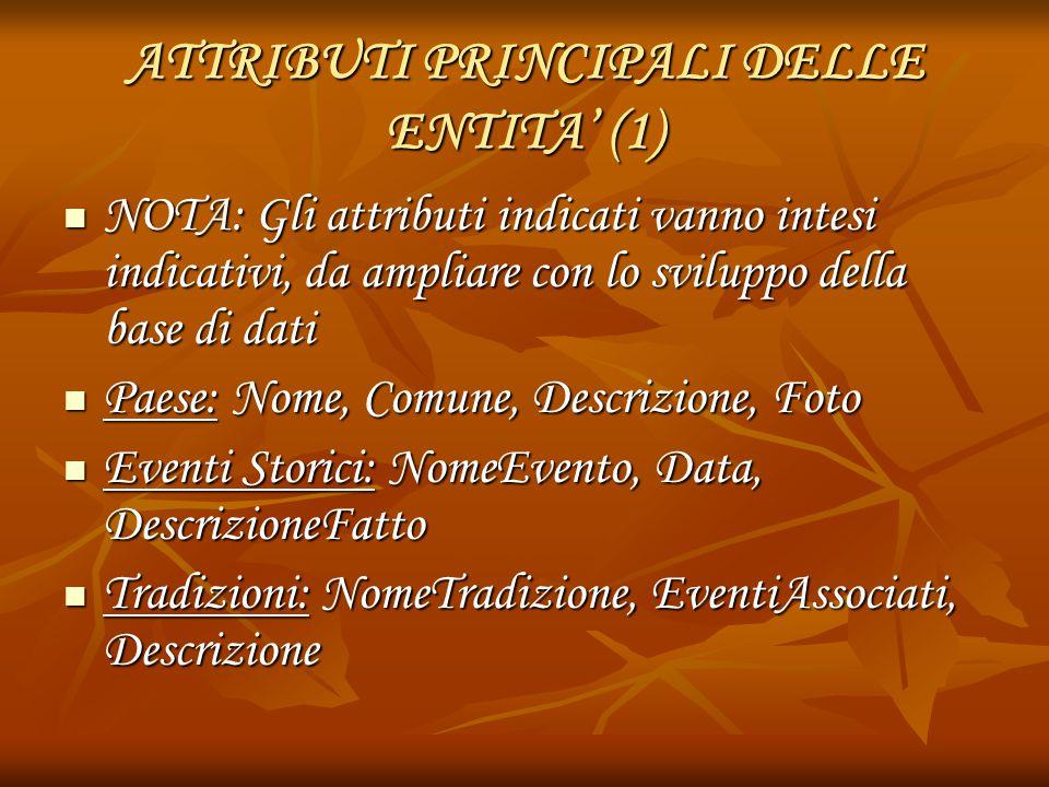 ATTRIBUTI PRINCIPALI DELLE ENTITA' (1) NOTA: Gli attributi indicati vanno intesi indicativi, da ampliare con lo sviluppo della base di dati NOTA: Gli