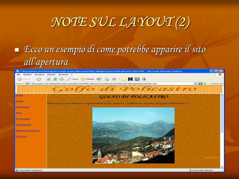 NOTE SUL LAYOUT (2) Ecco un esempio di come potrebbe apparire il sito all'apertura Ecco un esempio di come potrebbe apparire il sito all'apertura