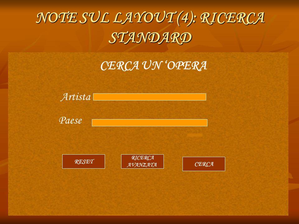 NOTE SUL LAYOUT (4): RICERCA STANDARD CERCA UN 'OPERA Artista Paese RESET CERCA RICERCA AVANZATA