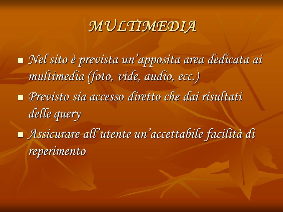MULTIMEDIA Nel sito è prevista un'apposita area dedicata ai multimedia (foto, vide, audio, ecc.) Nel sito è prevista un'apposita area dedicata ai mult