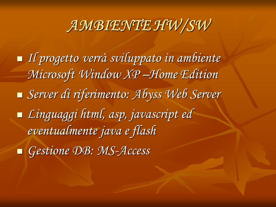 AMBIENTE HW/SW Il progetto verrà sviluppato in ambiente Microsoft Window XP –Home Edition Il progetto verrà sviluppato in ambiente Microsoft Window XP –Home Edition Server di riferimento: Abyss Web Server Server di riferimento: Abyss Web Server Linguaggi html, asp, javascript ed eventualmente java e flash Linguaggi html, asp, javascript ed eventualmente java e flash Gestione DB: MS-Access Gestione DB: MS-Access