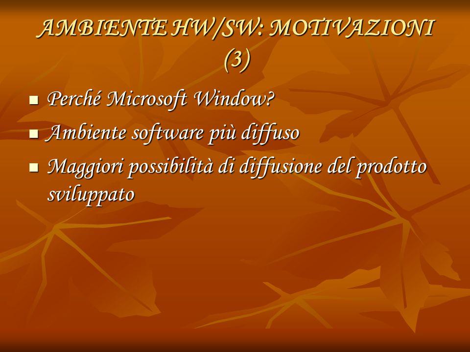 AMBIENTE HW/SW: MOTIVAZIONI (3) Perché Microsoft Window? Perché Microsoft Window? Ambiente software più diffuso Ambiente software più diffuso Maggiori