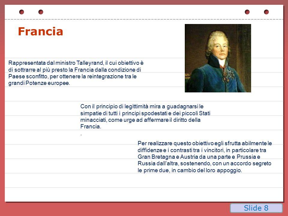 L'Italia dopo il Congresso di Vienna Divisa in 7 stati Scompaiono Repubblica di Venezia, Genova e Lucca.