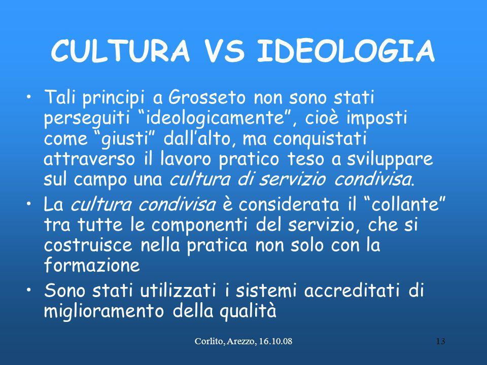 """Corlito, Arezzo, 16.10.0813 CULTURA VS IDEOLOGIA Tali principi a Grosseto non sono stati perseguiti """"ideologicamente"""", cioè imposti come """"giusti"""" dall"""