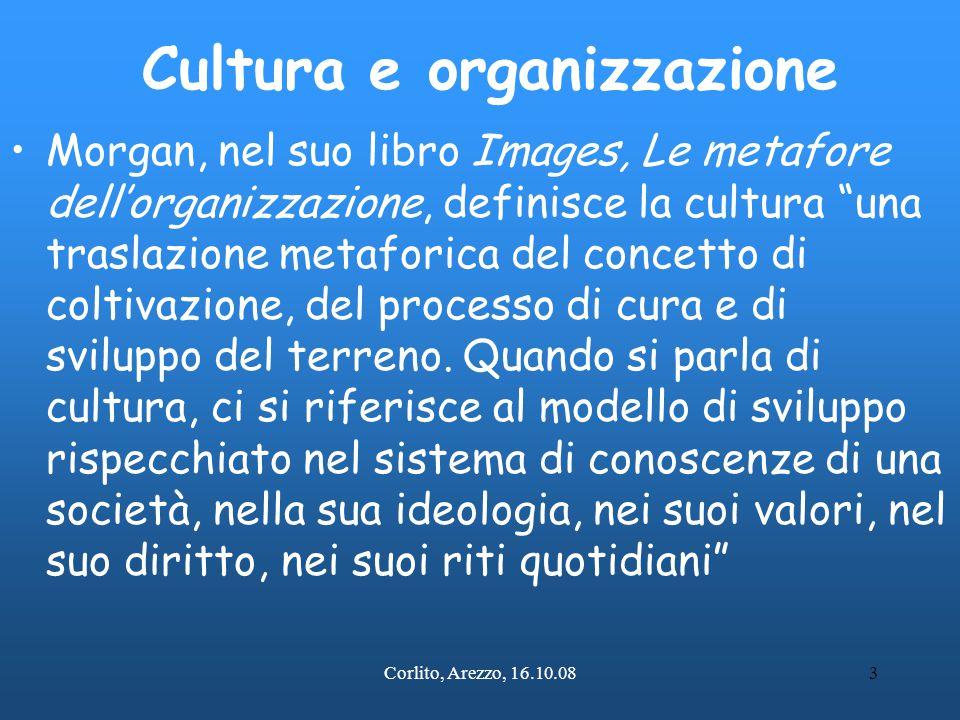 Corlito, Arezzo, 16.10.084 La cultura organizzativa Quindi, quando usiamo il termine cultura organizzativa , utilizziamo una metafora complessa e continuata (in senso retorico un'allegoria), che ci permette di pensare ai gruppi organizzati (anche i nostri servizi) non come a macchine , ma come organismi viventi tipicamente umani e sociali, che nascono e si sviluppano, con un sistema di valori propri, storicamente determinato e condiviso, che si adatta e modifica l'ambiente in cui si trova.