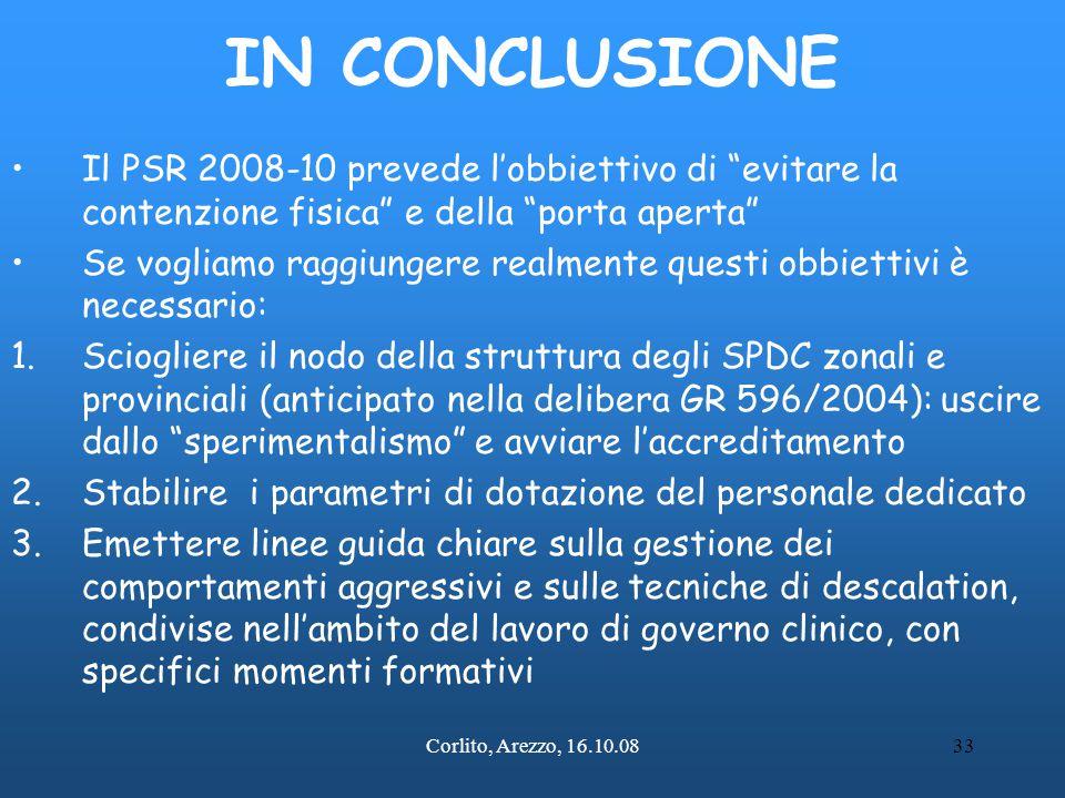 """Corlito, Arezzo, 16.10.0833 IN CONCLUSIONE Il PSR 2008-10 prevede l'obbiettivo di """"evitare la contenzione fisica"""" e della """"porta aperta"""" Se vogliamo r"""