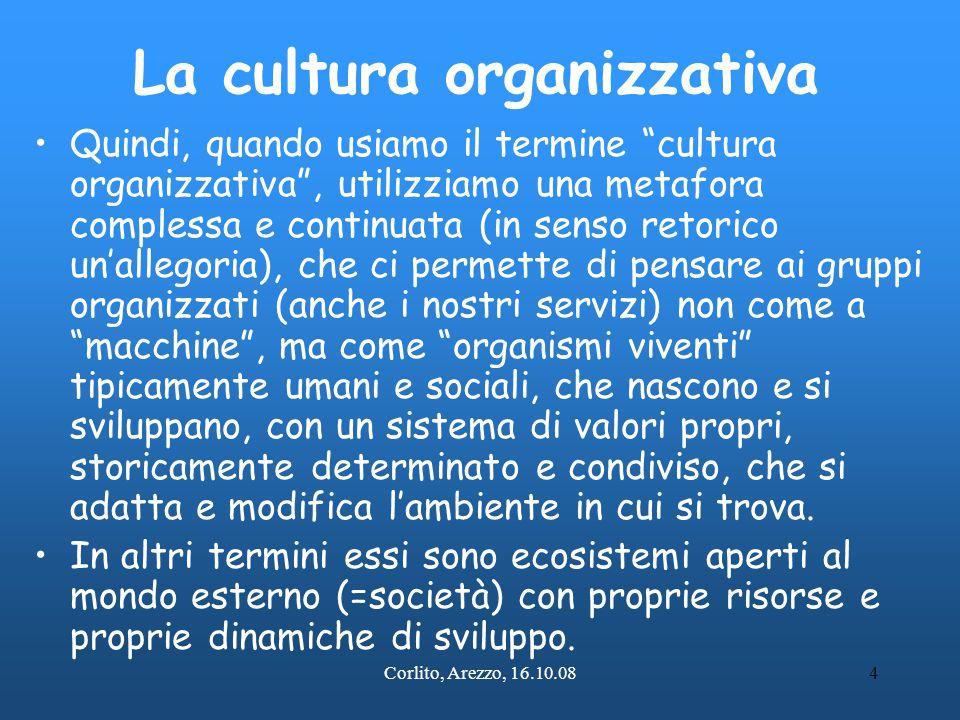 """Corlito, Arezzo, 16.10.084 La cultura organizzativa Quindi, quando usiamo il termine """"cultura organizzativa"""", utilizziamo una metafora complessa e con"""