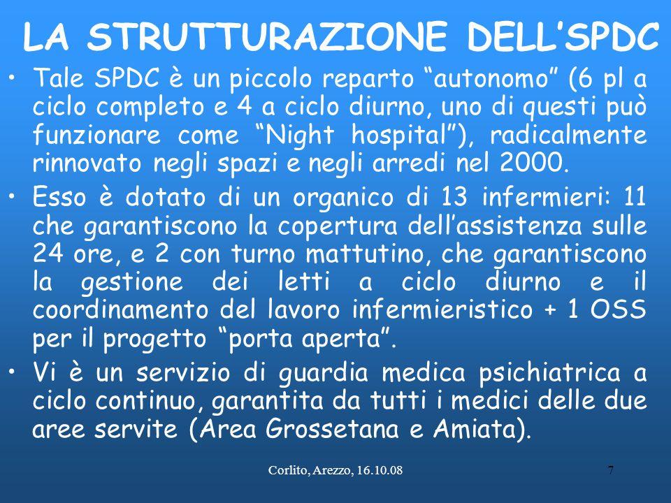 """Corlito, Arezzo, 16.10.087 LA STRUTTURAZIONE DELL'SPDC Tale SPDC è un piccolo reparto """"autonomo"""" (6 pl a ciclo completo e 4 a ciclo diurno, uno di que"""