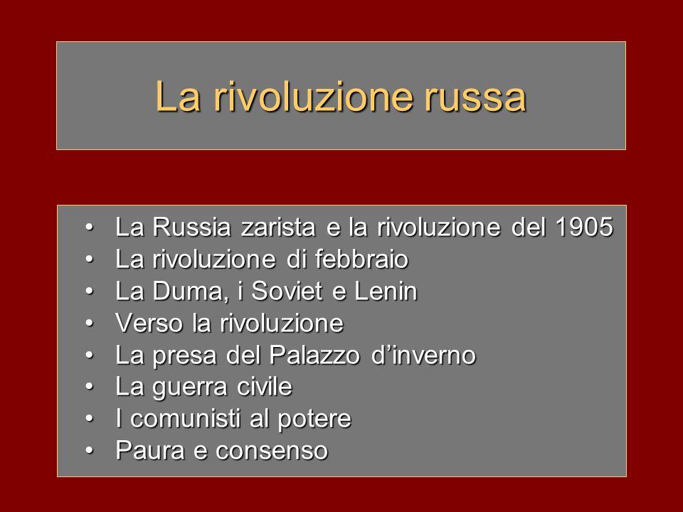 La rivoluzione russa La Russia zarista e la rivoluzione del 1905La Russia zarista e la rivoluzione del 1905 La rivoluzione di febbraioLa rivoluzione d