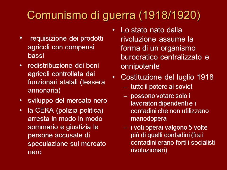 Comunismo di guerra (1918/1920) requisizione dei prodotti agricoli con compensi bassi redistribuzione dei beni agricoli controllata dai funzionari sta