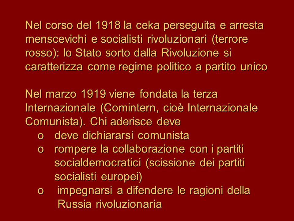 Nel corso del 1918 la ceka perseguita e arresta menscevichi e socialisti rivoluzionari (terrore rosso): lo Stato sorto dalla Rivoluzione si caratteriz