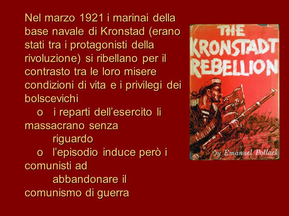 Nel marzo 1921 i marinai della base navale di Kronstad (erano stati tra i protagonisti della rivoluzione) si ribellano per il contrasto tra le loro mi