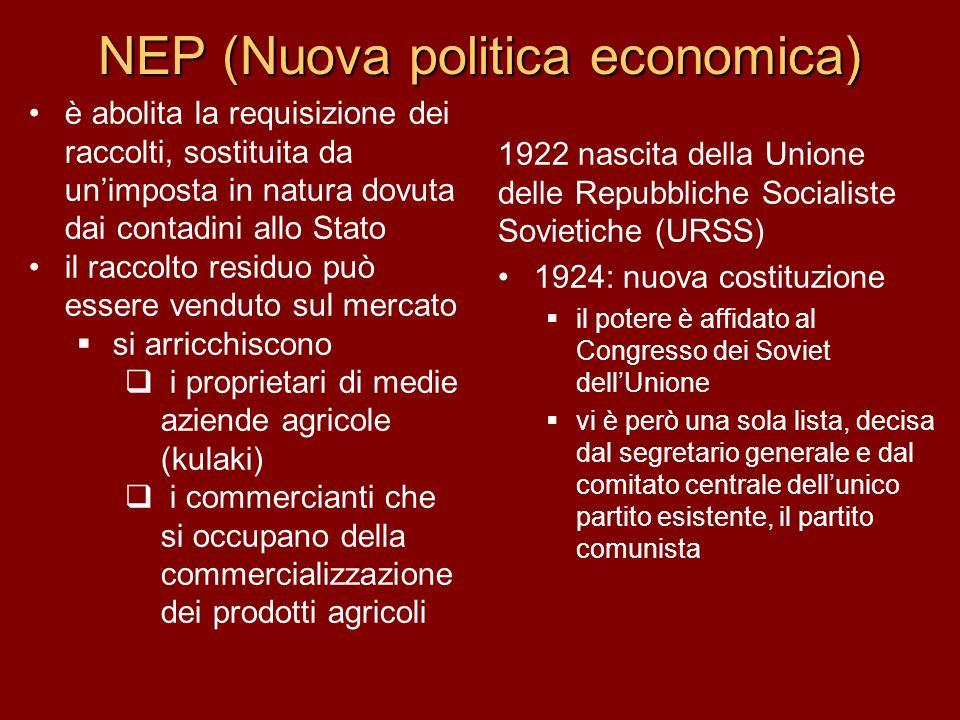 NEP (Nuova politica economica) 1922 nascita della Unione delle Repubbliche Socialiste Sovietiche (URSS) 1924: nuova costituzione  il potere è affidat