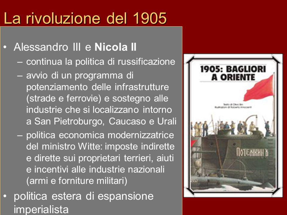 La rivoluzione del 1905 Alessandro III e Nicola II –continua la politica di russificazione –avvio di un programma di potenziamento delle infrastruttur