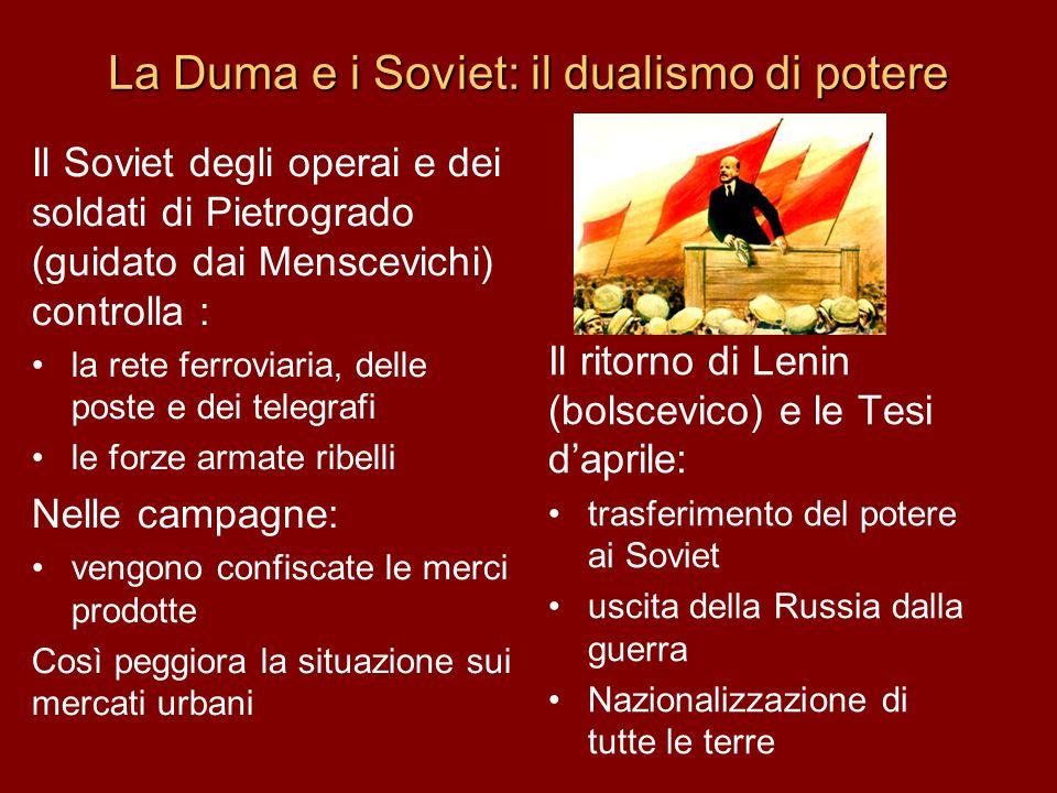 La Duma e i Soviet: il dualismo di potere Il Soviet degli operai e dei soldati di Pietrogrado (guidato dai Menscevichi) controlla : la rete ferroviari