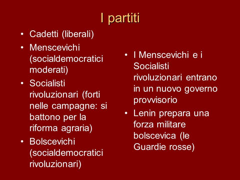 I partiti Cadetti (liberali) Menscevichi (socialdemocratici moderati) Socialisti rivoluzionari (forti nelle campagne: si battono per la riforma agrari