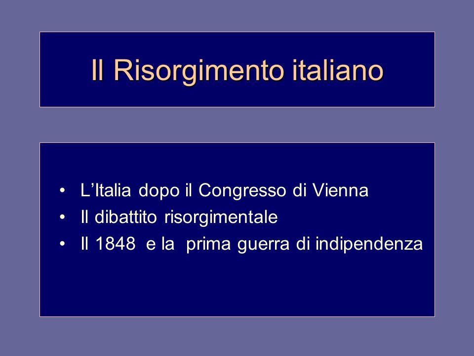 Il Risorgimento italiano L'Italia dopo il Congresso di Vienna Il dibattito risorgimentale Il 1848 e la prima guerra di indipendenza