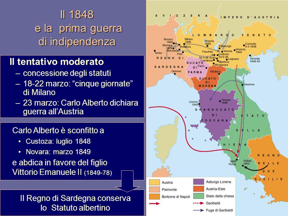 """Il 1848 e la prima guerra di indipendenza Il tentativo moderato –concessione degli statuti –18-22 marzo: """"cinque giornate"""" di Milano –23 marzo: Carlo"""