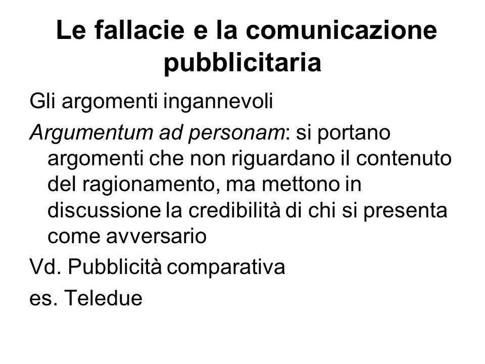 Le fallacie e la comunicazione pubblicitaria Gli argomenti ingannevoli Argumentum ad personam: si portano argomenti che non riguardano il contenuto de