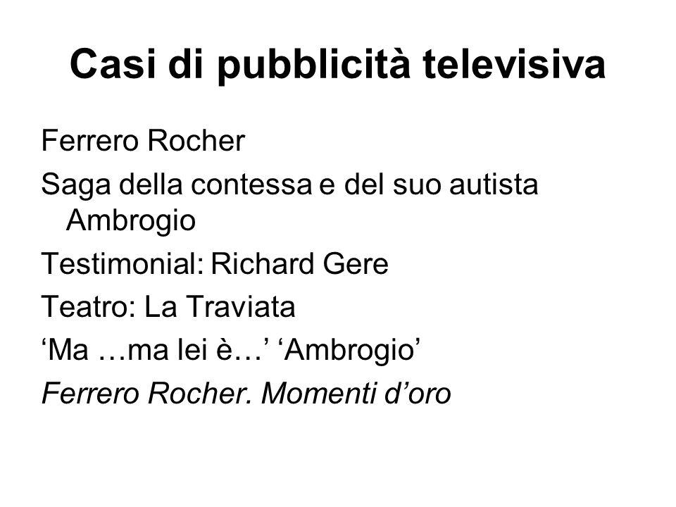 Casi di pubblicità televisiva Ferrero Rocher Saga della contessa e del suo autista Ambrogio Testimonial: Richard Gere Teatro: La Traviata 'Ma …ma lei