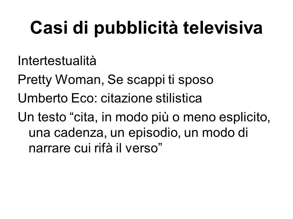 """Casi di pubblicità televisiva Intertestualità Pretty Woman, Se scappi ti sposo Umberto Eco: citazione stilistica Un testo """"cita, in modo più o meno es"""