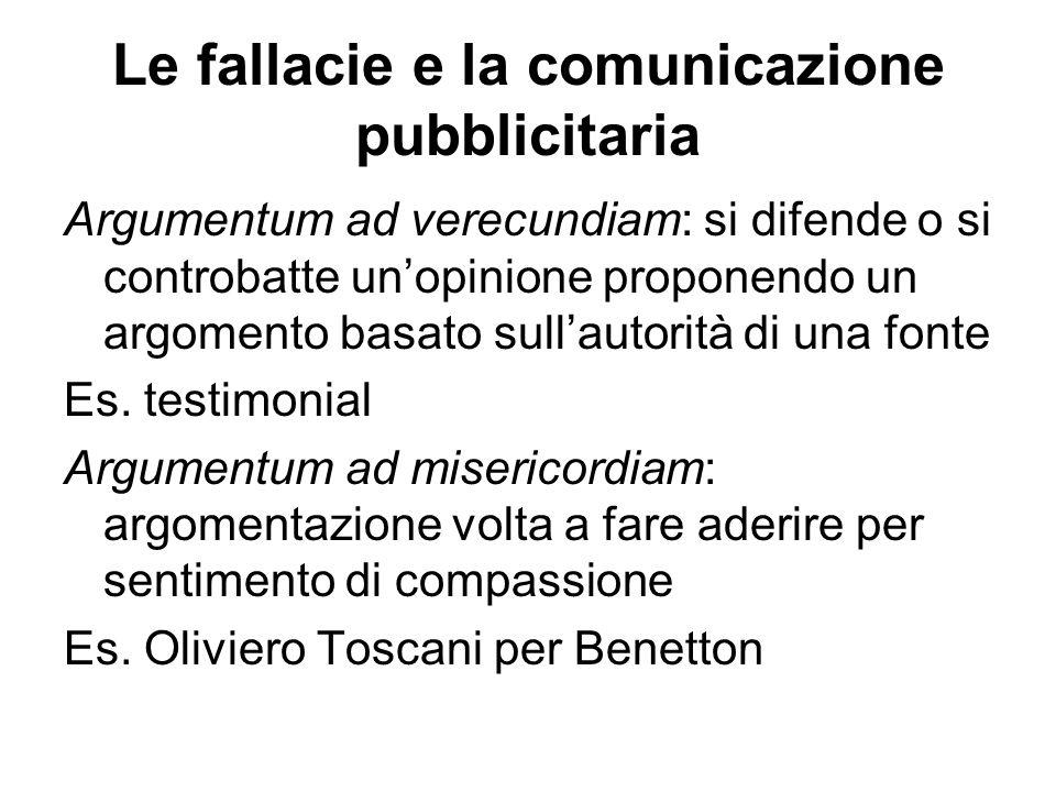 Le fallacie e la comunicazione pubblicitaria Argumentum ad verecundiam: si difende o si controbatte un'opinione proponendo un argomento basato sull'au