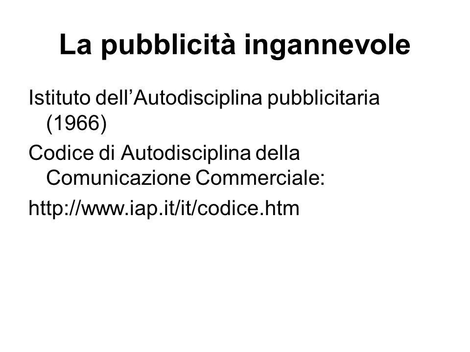 La pubblicità ingannevole Istituto dell'Autodisciplina pubblicitaria (1966) Codice di Autodisciplina della Comunicazione Commerciale: http://www.iap.i