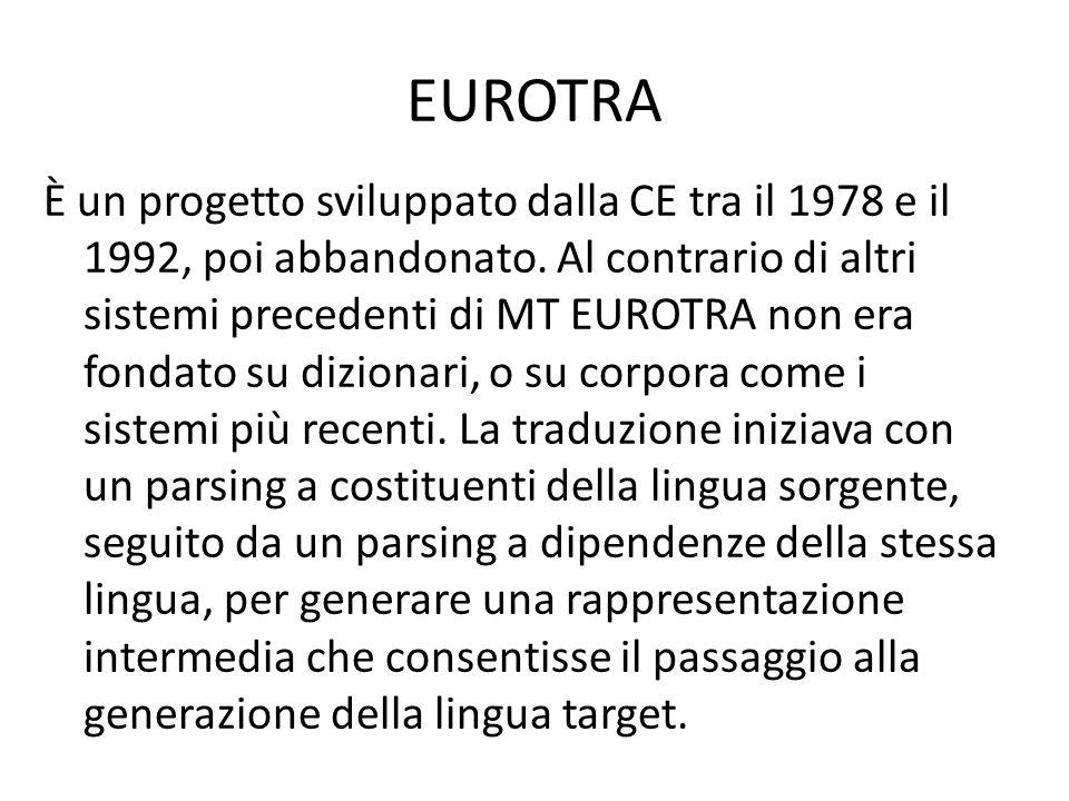 EUROTRA È un progetto sviluppato dalla CE tra il 1978 e il 1992, poi abbandonato.