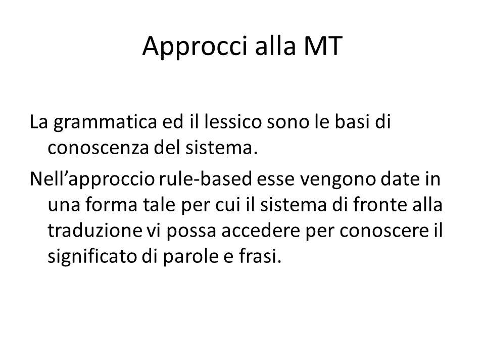Approcci alla MT La grammatica ed il lessico sono le basi di conoscenza del sistema.