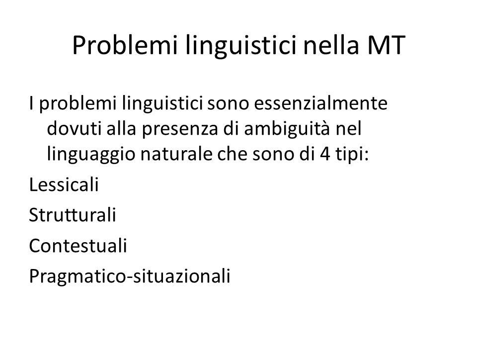 Problemi linguistici nella MT I problemi linguistici sono essenzialmente dovuti alla presenza di ambiguità nel linguaggio naturale che sono di 4 tipi: Lessicali Strutturali Contestuali Pragmatico-situazionali