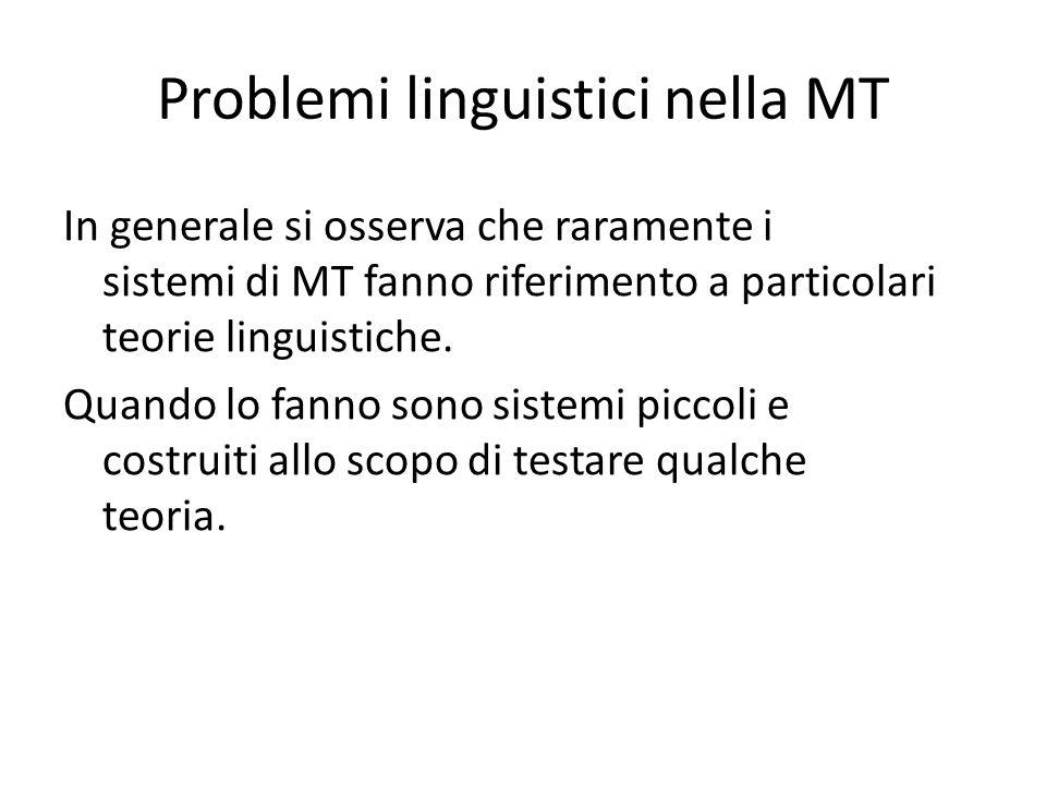 Problemi linguistici nella MT In generale si osserva che raramente i sistemi di MT fanno riferimento a particolari teorie linguistiche.