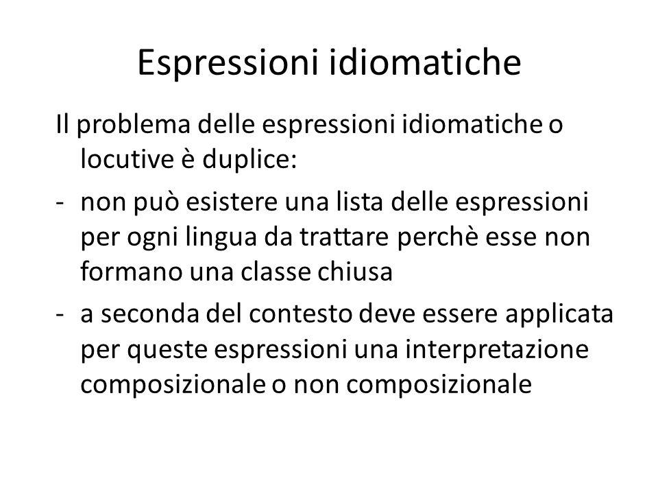 Espressioni idiomatiche Il problema delle espressioni idiomatiche o locutive è duplice: -non può esistere una lista delle espressioni per ogni lingua da trattare perchè esse non formano una classe chiusa -a seconda del contesto deve essere applicata per queste espressioni una interpretazione composizionale o non composizionale