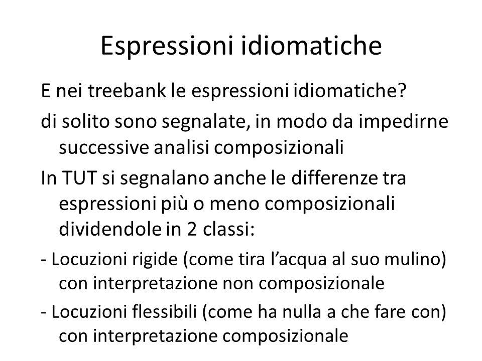 Espressioni idiomatiche E nei treebank le espressioni idiomatiche.