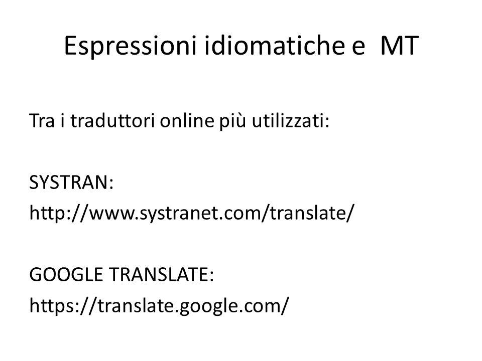 Espressioni idiomatiche e MT Tra i traduttori online più utilizzati: SYSTRAN: http://www.systranet.com/translate/ GOOGLE TRANSLATE: https://translate.google.com/