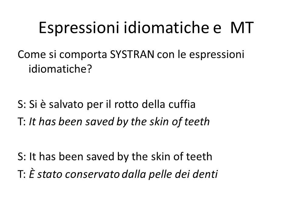 Espressioni idiomatiche e MT Come si comporta SYSTRAN con le espressioni idiomatiche.
