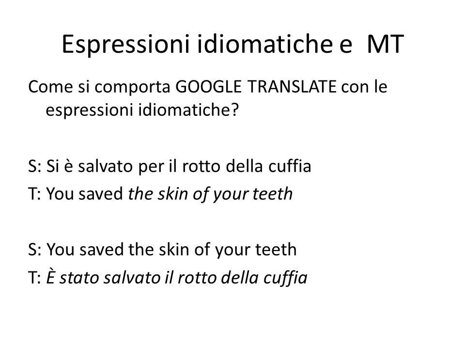Espressioni idiomatiche e MT Come si comporta GOOGLE TRANSLATE con le espressioni idiomatiche.