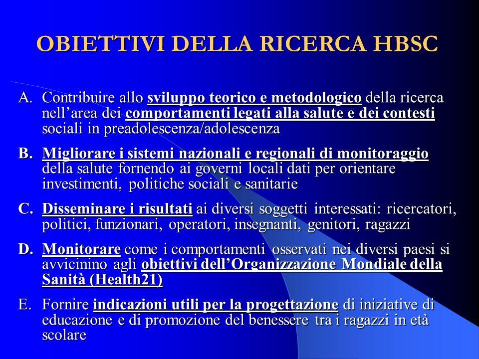 OBIETTIVI DELLA RICERCA HBSC A.Contribuire allo sviluppo teorico e metodologico della ricerca nell'area dei comportamenti legati alla salute e dei con